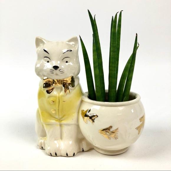 Vintage Planter Featuring Tom Cat & Goldfish Bowl